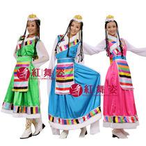 加长水袖藏族服舞蹈演出服少数民族服装舞台装西藏女表演服饰 价格:85.00