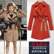 ZARA正品女装 欧洲站2013秋装新款长袖中长款西装翻领系腰带风衣 价格:239.00