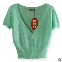 2013新款edc 短款纯色薄镂空淑女针织衫 短袖 针织衫披肩开衫 价格:142.00