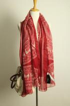 外贸复古小鹿黑红女薄款棉纱巾围巾披肩超长丝巾防晒空调遮阳 价格:36.00