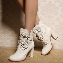 春秋新款欧美真皮裸靴花朵骑士单靴高跟粗跟短靴英伦马丁靴女靴子 价格:358.00