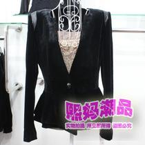 美欣雅女装 2013秋装新款时尚修身一粒扣短外套金丝绒小西装1312 价格:176.00