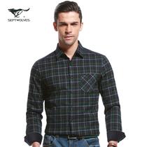 七匹狼长袖衬衫 2013秋冬新品 男士休闲直筒尖领型衬衣正品502936 价格:319.00