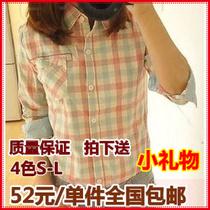 秋装新品韩版小清新少女学生装学院风长袖纯棉翻领格子衬衫女修身 价格:52.00