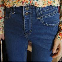 秋季新款韩版高腰排扣紧身牛仔裤长裤女小脚铅笔裤裤修身显瘦潮蓝 价格:85.00