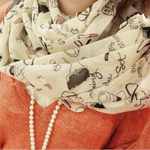 秋冬长款可爱甜美风飘逸女雪纺丝巾 175*72cm长款丝巾围巾 披肩 价格:9.90