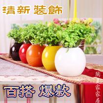 简约现代室内家居装饰品 陶瓷工艺品 清新客厅摆件 时尚圆球花瓶 价格:2.18