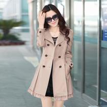 2013秋装新款修身外套韩版女装蕾丝拼接中长款风衣秋款女 价格:218.00