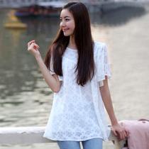 包邮2013新款韩版雪纺衫短袖衬衫夏白色宽松镂空蕾丝衫短袖女上衣 价格:39.80
