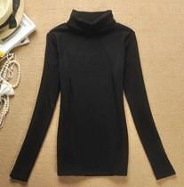 2013新款秋装 女装加大长袖T恤 黑色高领打底衫 紧身衣 显瘦T恤 价格:29.75