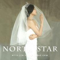 特价 新款韩版全智贤明星款新娘婚纱头纱 双层插梳可遮面短款头纱 价格:29.00