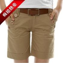 【拇指斗价】包邮纯棉短裤女装休闲裤直筒裤胖mm弹力显瘦大码高腰 价格:45.00