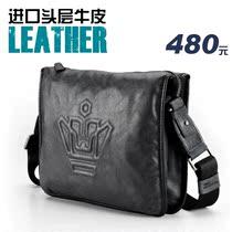 男包 潮 英伦男士单肩包 韩版头层牛皮斜挎包 真皮休闲包包 正品 价格:542.30