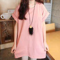 【拇指斗价专享】2013夏季口袋短袖女简约T恤 纯色宽松大码女装t 价格:39.00