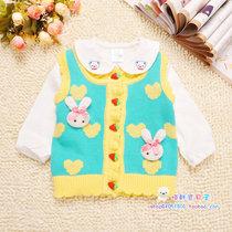 特价2013秋装宝宝毛衣背心新款可爱兔子婴儿毛衣背心纯棉儿童马夹 价格:32.00
