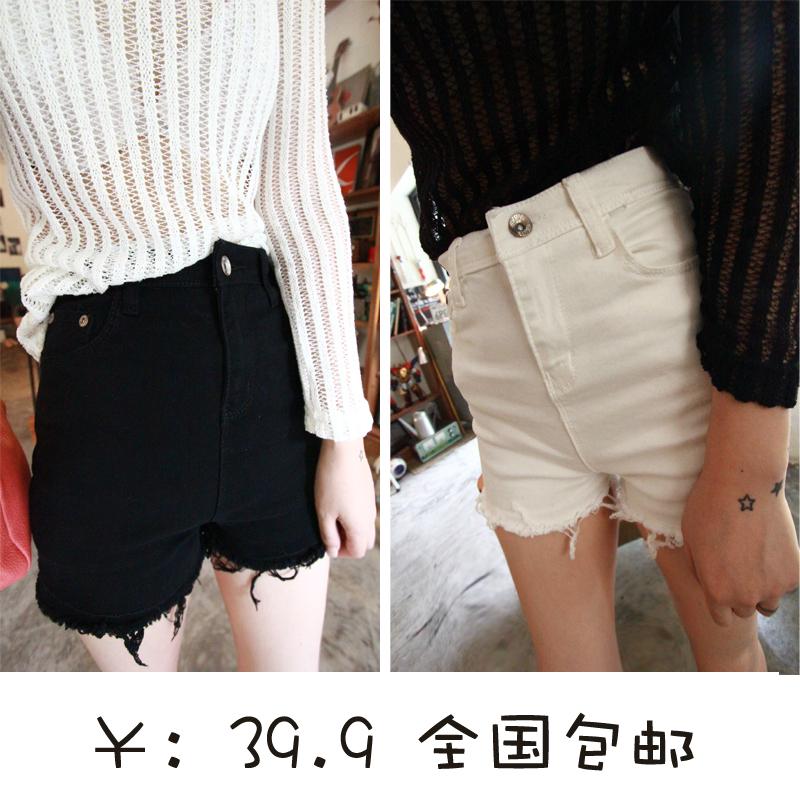 风暴包邮韩国stylenanda白色短裤女显瘦韩版高腰短裤女牛仔热裤子 价格:39.90