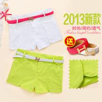 骊�RBBI-a306 韩版新品夏装时尚女裤 2013女装糖果色休闲短裤E-13 价格:38.00