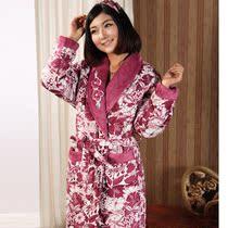 妈妈睡衣 冬季加厚珊瑚绒夹棉睡衣家居服睡袍浴袍 冬天睡衣女士 价格:169.00