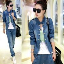 美特斯邦威牛仔短外套2013秋装韩版新款牛仔两件套上衣女外套背心 价格:139.00