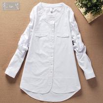 木仙生 2013秋 最新纯棉韩版个性长款显瘦圆领白色衬衣女衬衫632 价格:76.00