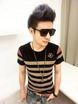 [包邮]男士2013新款复古条纹林弯弯修身潮男装透气 间条短袖T恤 价格:38.00
