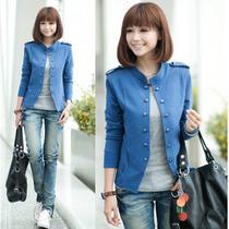 韩版秋季新款女装长袖立领肩章修身短外套 大码双排扣外套 小西装 价格:24.00