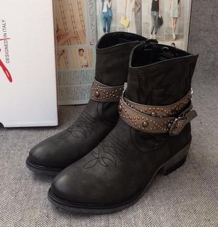 牛货!欧美风外贸原单大码靴女款英伦短靴子粗跟中跟大码马丁靴子 价格:69.00