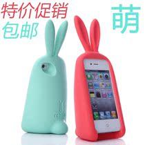 韩国超萌立体兔子胖胖兔iPhone4s手机壳硅胶防摔苹果5保护套包邮 价格:19.99
