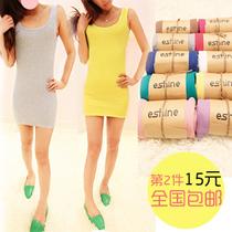 包邮2013春夏装新款长款修身打底背心糖果色包臀背心裙连衣裙子女 价格:25.00