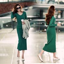 2013新款韩版女装秋冬装长裙针织长款连衣裙修身长袖毛衣连衣裙子 价格:79.00