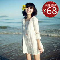 拉夏贝尔秋款2013朵以秋装正品新款专柜ccdd诺曼琦全蕾丝连衣裙 价格:68.00