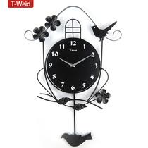 天伟达 正品个性摇摆挂表简约挂钟时尚创意钟表田园欧式客厅时钟 价格:88.00