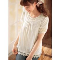 日本代购2013春夏宽松圆领泡泡袖娃娃衫拼接蕾丝花边短袖女款T恤 价格:285.95