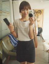 韩国代购秋冬季NIPONJJUYA灯笼袖圆领格子中袖衬衣白色女装绿色 价格:315.56