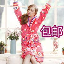 2013新款 女士睡袍 绿妍882连体浴袍 水貂绒长袖艳丽家居服 秋冬 价格:110.00