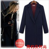 2013欧美风春秋新款修身简约西装领中长款羊毛呢子西装大衣外套女 价格:218.00