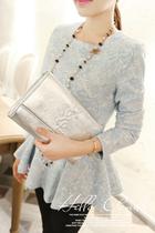 凶猛熊猫 名媛气质浮雕花纹收腰裙摆式上衣蓝 白 粉 绿2887 价格:115.00