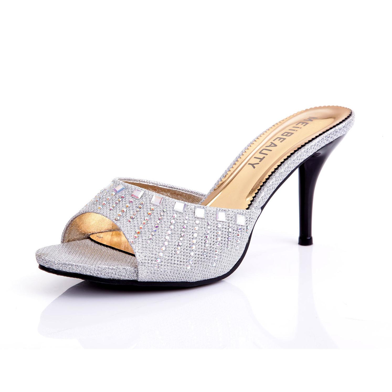 2013拖鞋新款潮女鱼嘴凉拖鞋 性感水钻高跟细跟女鞋子鞋托女夏鞋 价格:88.00