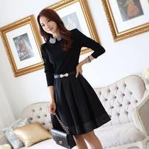 2013秋季新款韩版修身娃娃领连衣裙长袖气质中长款高端翻领大码裙 价格:157.00