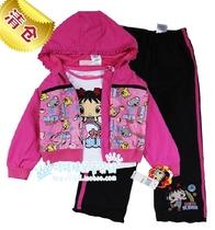 外贸原单nickelodeon女童夹克上衣外套T恤长裤三件套装中国娃set 价格:70.20