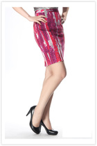 明月宝姿夏秋装百搭款抽象印染图案包臀半身裙职业上班女装OL必备 价格:198.00