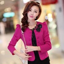 2013秋装新款韩版修身显瘦气质双排扣百搭小西装 长袖短款 外套女 价格:49.00