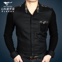 【秋装特价】七匹狼正品中年男士长袖衬衫 新款男装羊毛碎花衬衣 价格:178.00