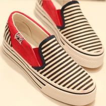 2013新款增高厚底帆布鞋女韩版松糕鞋潮懒人鞋一脚蹬布鞋包邮 价格:39.20