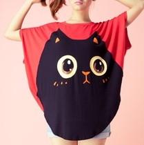 2013夏装 新品质女装原创设计 时尚猫脸宽松 女装短袖t恤 价格:29.00