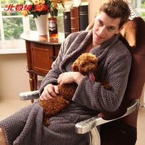 北极绒超柔绒加厚长袖睡袍纯色男士男式贝贝绒居家浴袍B711323311 价格:154.80