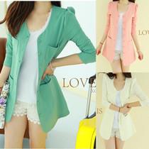 包邮 2013春装新款韩版女装 纯色圆领修身中长款百搭小西装外套 2 价格:20.00