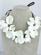 MARNI hm白花皮绳项链女短款锁骨欧美时尚大牌夸张配饰饰品花朵 价格:48.88