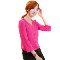 2013新款秋韩版修身显瘦V领气质中长袖衬衣七分袖百搭雪纺衬衫 女 价格:39.00