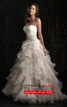 抹胸小拖尾镶钻婚纱礼服外贸修身公主蕾丝A摆婚纱wedding dresses 价格:760.00